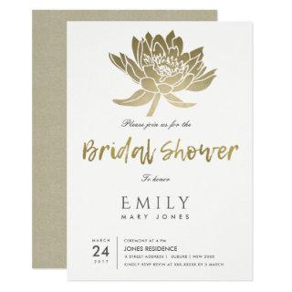 GLAMOROUS GOLD WHITE LOTUS FLORAL BRIDAL SHOWER Invitations