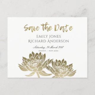 GLAMOROUS GOLD WHITE LOTUS FLORAL SAVE THE DATE ANNOUNCEMENT POSTCARD