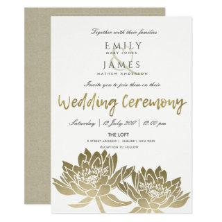 GLAMOROUS PALE GOLD WHITE LOTUS FLORAL WEDDING INVITATION