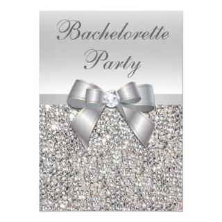 Glamorous Silver Sequins Bow Bachelorette Party Invitation