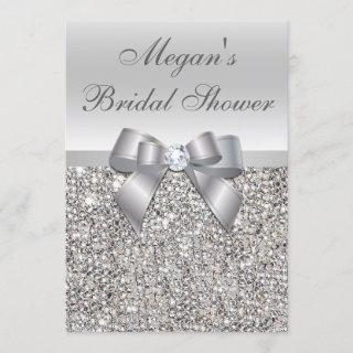Glamorous Silver Sequins Bow Bridal Shower