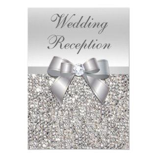 Glamorous Silver Sequins Bow Wedding Reception Invitations