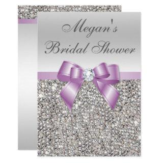 Glamorous Silver Sequins Lilac Bow Bridal Shower Invitations