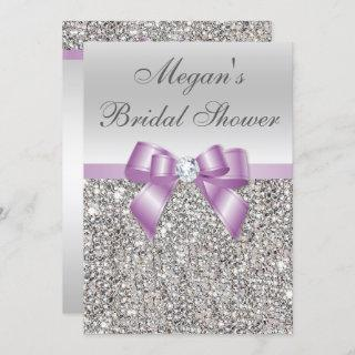 Glamorous Silver Sequins Lilac Bow Bridal Shower