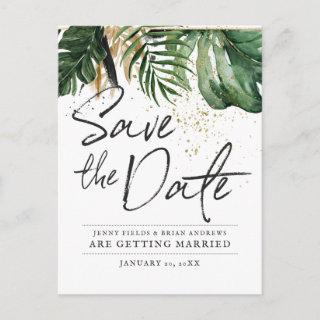 Glamorous Summer Greenery Wedding | Save the Date Announcement Postcard