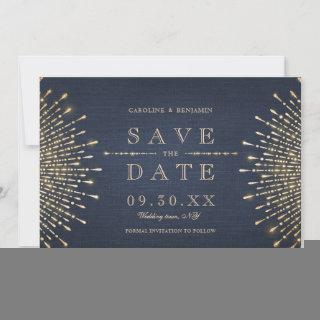 Glamour Deco Navy blue Vintage Save The Date
