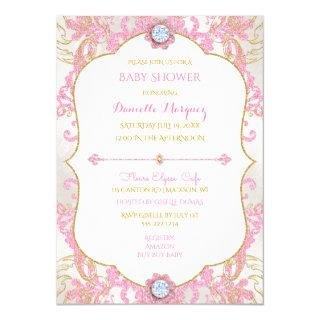 Glamour Girl Pink Gold Diamonds Invitation