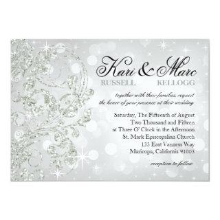Glamour Glitter Luxe Bokeh Wedding | silver ice Invitations