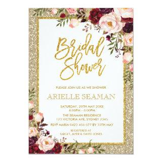 Glitter Bridal Shower Invite Burgundy Pink Floral