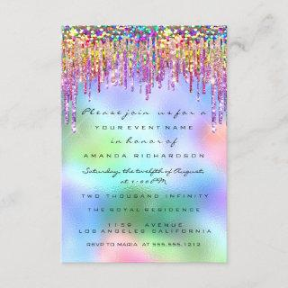 Glitter Drips Rose Bridal 16th Rainbow Holographic