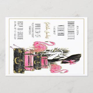 Glitter Flamingo Bachelorette Party Weekend Invitations