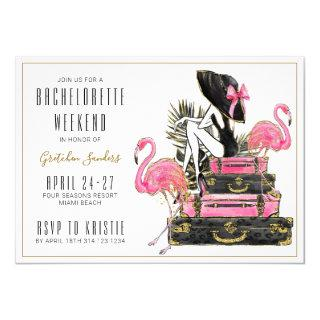 Glitter Flamingo Bachelorette Party Weekend Invitation