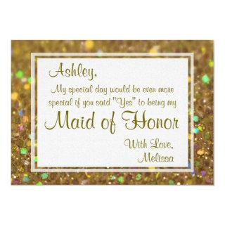 Glitter Glam Will You Be My Maid of Honor Invitation