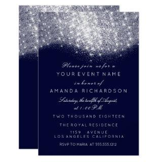 Glitter Silver Gray White Blue Navy White Elegant Invitations