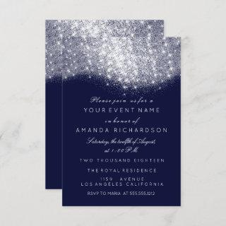 Glitter Silver Gray White Blue Navy White Elegant Invitation