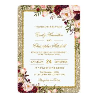 Glitter Wedding Invitation Burgundy Blush Floral