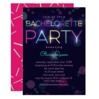 Glowing Neon Bachelorette Party Invitation