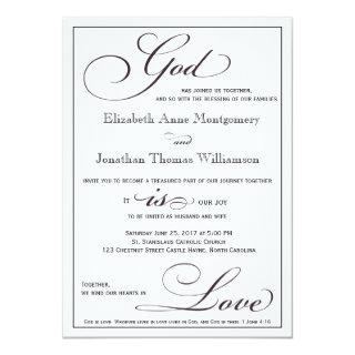 God is Love Christian Script Wedding Invitations