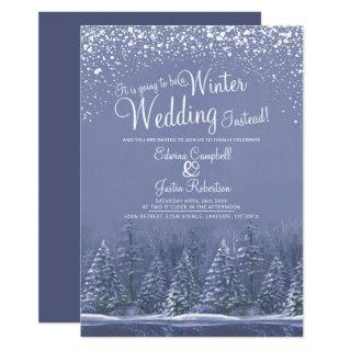 Going to be a winter wedding snow lake blue invitation