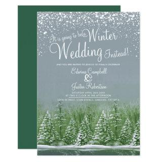 Going to be a winter wedding snow lake gray green invitation