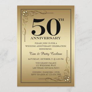 Gold 50th Wedding Anniversary Party Invitations
