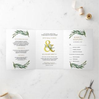 Gold Ampersand Olive Branch All in One Wedding Tri-Fold