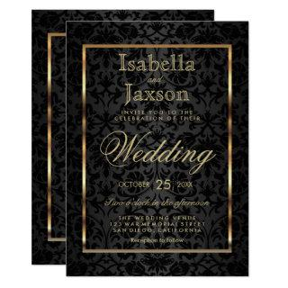 Gold and Black Damask Invitation