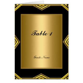 Gold and Black Table Placement Card and Menu