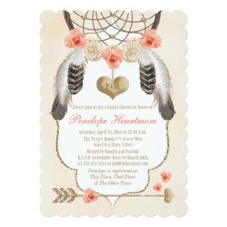 Gold and Blush Dreamcatcher Boho Bridal Shower Invitations