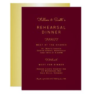 Gold and Burgundy Wine Rehearsal Dinner Invitation