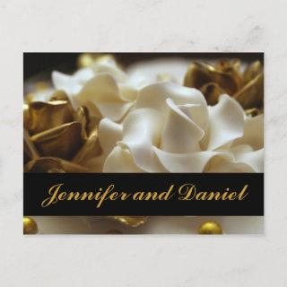 Gold and Cream Rose Wedding Invitations Cards
