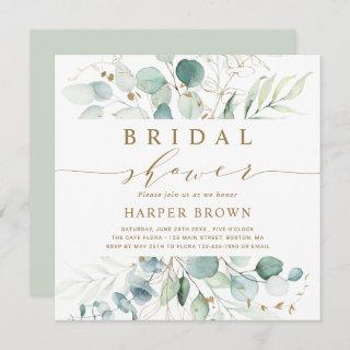 Gold and Green Botanical Bridal Shower Square