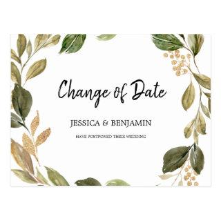 Gold and Greenery Leaves Change of Date Postcard