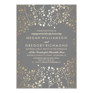 Gold and Grey Baby's Breath Engagement Party Invitations