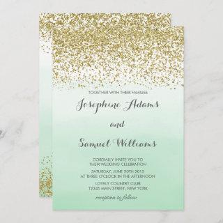 Gold and Mint Green Wedding Invitation