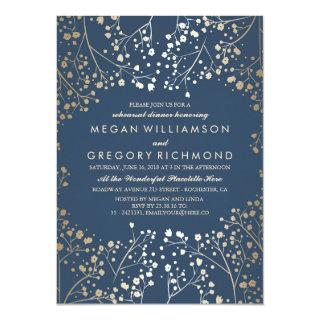 Gold and Navy Baby's Breath Rehearsal Dinner Invitations