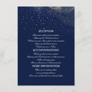 Gold and Navy Starry Night Wedding Information Enclosure Card