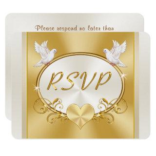Gold and Off White Wedding RSVP Response Cards