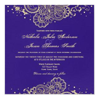 Gold and Purple Henna Lace Wedding Invitations