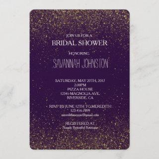 Gold and Purple Sparkles Glitter bridal shower Invitations