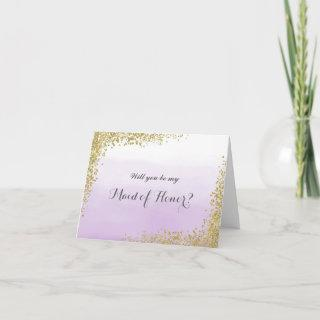 Gold and Purple Will You Be My Maid of Honor Card
