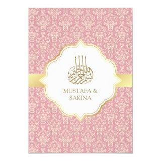 Gold and Rose Pink Damask Islamic Muslim Wedding Invitations