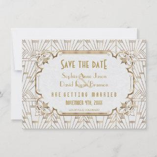 Gold and White Great Gatsby Art Deco Save The Date