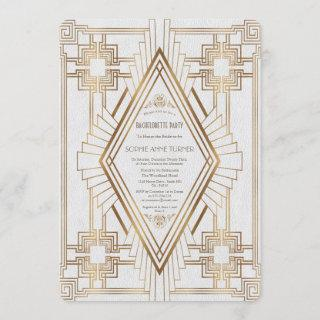 Gold and White Great Gatsby Bachelorette Party Invitation