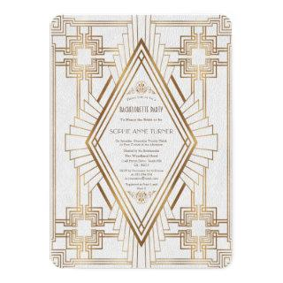 Gold and White Great Gatsby Bachelorette Party Invitations