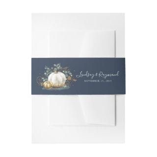 Gold and White Pumpkin Fall Harvest Invitation Bel Invitation Belly Band