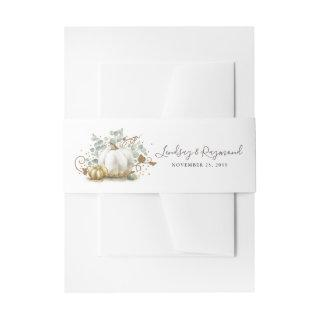 Gold and White Pumpkin Fall Harvest Invitations Belly Band