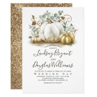 Gold and White Pumpkins Rustic Modern Fall Wedding Invitations