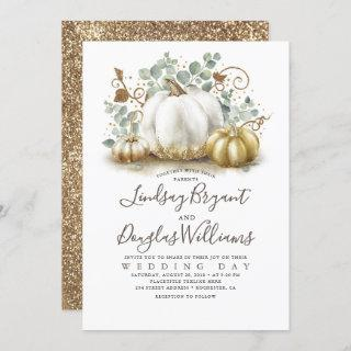 Gold and White Pumpkins Rustic Modern Fall Wedding