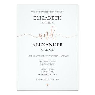 Gold and white wedding Invitations. Simple invite